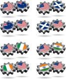 l'Amérique fonctionne avec la Nouvelle Zélande, Ecosse, Irlande, illustration libre de droits