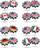 l'Amérique fonctionne avec le Canada, la Grande-Bretagne, l'Allemagne, et l'I illustration stock