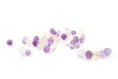 L'améthyste d'Ametrine perle dans des couleurs pourpres, violettes et jaunes Photographie stock