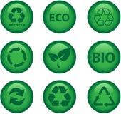 L'ambiente e ricicla le icone Fotografia Stock