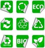 L'ambiente verde e ricicla le icone Fotografia Stock Libera da Diritti