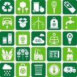 L'ambiente verde e ricicla le icone Fotografie Stock