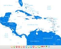 L'America Centrale - icone di navigazione e della mappa - illustrazione Fotografia Stock Libera da Diritti