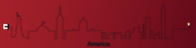 L'America con l'incavo, elettricità, illustrazione Fotografie Stock