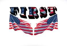 L'America in primo luogo e due bandiere degli S.U.A. su un fondo bianco immagini stock libere da diritti