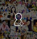 L'ami ajoutent le concept de demande de media de signe de mise en réseau de connexion Photo libre de droits