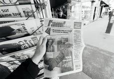 L ` Ami Hebdo circa la stampa francese dell'affare dell'uomo di elezioni presidenziali Immagine Stock