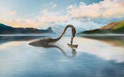 L'amitié étonnante du monstre et de l'homme de Loch Ness illustration de vecteur