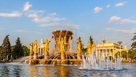 L'amitié de la fontaine de nations au centre d'exposition de la Tout-Russie, Moscou image libre de droits