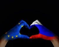 l'amitié entre la Russie et l'Europe Photo libre de droits