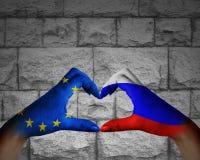 l'amitié entre la Russie et l'Europe Photo stock