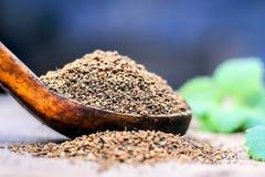 L'ammi de Trachyspermum, graines d'Ajwain dans un scoop en bois avec certains part sur un fond de jute Photo libre de droits
