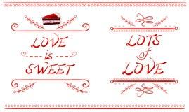 L'AMORE È DOLCE e LOTTI delle parole di AMORE, fetta del dolce di VETTORE, linee rosse isolate su bianco Immagine Stock