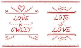 L'AMORE È DOLCE e LOTTI delle parole di AMORE, illustrazione disegnata a mano di VETTORE, linee rosse Fotografia Stock