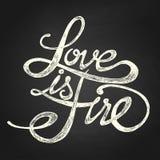 L'amore è fuoco - frase Fotografia Stock Libera da Diritti