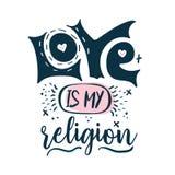 L'amore è la mia religione - segnare l'etichetta, il logo, le etichette disegnate a mano e l'insieme con lettere di elementi per  illustrazione di stock