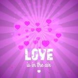 L'amore è nell'aria, cartolina d'auguri del giorno del ` s del biglietto di S. Valentino della st, tem di vettore Fotografia Stock