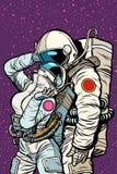 L'amore cosmico dei cosmonauti, uomo abbraccia la donna illustrazione vettoriale