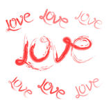 L'amore del testo per il giorno o le nozze del ` s del biglietto di S. Valentino Fotografie Stock Libere da Diritti