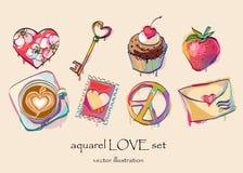 L'amore dell'acquerello ha impostato per il giorno del biglietto di S. Valentino Fotografia Stock