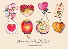 l'amore dell'Asia dell'acquerello ha impostato per il giorno del biglietto di S. Valentino Fotografia Stock Libera da Diritti