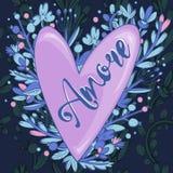 L'amore dell'iscrizione al cuore Immagini Stock Libere da Diritti