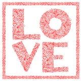 L'amore di parola con l'ornamento floreale Fotografia Stock Libera da Diritti