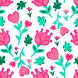 L'amore floreale senza cuciture sveglio scarabocchia il modello I cuori, foglie, fiorisce il fondo di vettore Immagine Stock Libera da Diritti