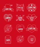 L'amore identifica il distintivo linea sottile messo per il giorno di biglietti di S. Valentino Vettore Fotografia Stock