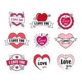 L'amore identifica il distintivo messo per il giorno di biglietti di S. Valentino Vettore Fotografia Stock