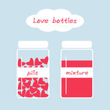 L'amore sveglio imbottiglia il retro stile con le pillole e la miscela Fotografia Stock
