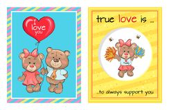 L'amore vero è supporto Teddy Girl Bears Air Balloon Fotografia Stock