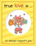 L'amore vero sostiene sempre Teddy Girl Cheerleader illustrazione di stock