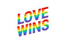 L'amore vince - vanti la tipografia della bandiera dell'arcobaleno di mese con il rainb di orgoglio illustrazione vettoriale