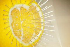 L'amour blesse le concept avec un fruit orange et des broches Photographie stock libre de droits