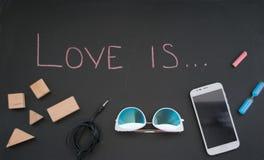 L'amour conceptuel d'inscription est Image stock