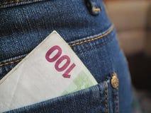 L'amour de l'argent l'euro note la réflexion Images stock