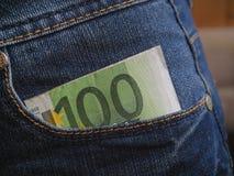 L'amour de l'argent l'euro note la réflexion Photographie stock libre de droits
