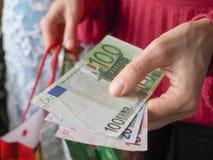 L'amour de l'argent l'euro note la réflexion Photos libres de droits