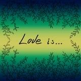L'amour de cadre de feuilles d'arbre est illustration de vecteur Photo stock