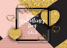 L'amour de jour du ` s de Valentine et le fond de vente de sentiments conçoivent Illustration de vecteur Images stock