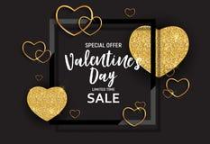L'amour de jour du ` s de Valentine et le fond de vente de sentiments conçoivent Illustration de vecteur Photos stock