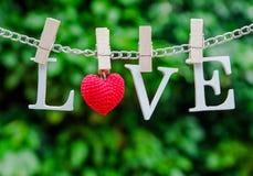 L'amour de mot avec l'agrafe en bois sur la chaîne Photographie stock