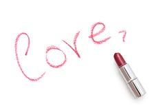 L'amour de mot avec le rouge à lèvres. Images libres de droits