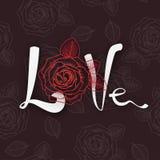 L'amour de mot avec a monté sur un modèle rouge des roses Photographie stock libre de droits