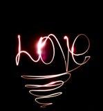 L'amour de mot des lumières Images libres de droits