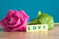 L'amour de mot et les roses roses Photos libres de droits