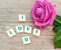 L'amour de mot et les roses roses Images stock