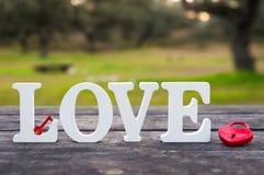 L'amour de mot et un cadenas de coeur Images stock