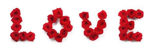 L'amour de mot fait de roses Image stock